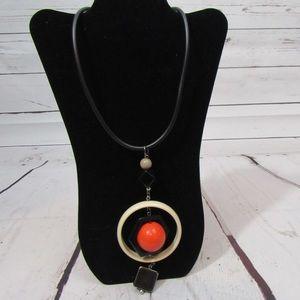 Ivory red black Modern Statement Necklace